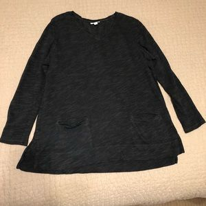 J Jill Dark Gray V-neck Long Sleeve Pullover